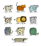 Funny animals, set for your design Royalty Free Stock Photography