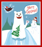 Funny Animals, snowman And Merry Christmas Texts Royalty Free Stock Images