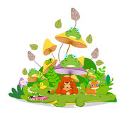 Funny animals stay together in the mushroom Royalty Free Stock Images