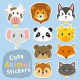 Funny Animals Stickers Vector Set. Cute and funny animals stickers vector set. printable cute animals stickers template cartoon vector Royalty Free Stock Images