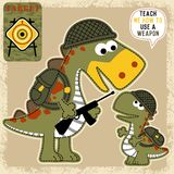 Funny animals troops cartoon vector Royalty Free Stock Images