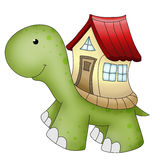 Funny animals turtle and house. Funny turtle animal with a house on his back Stock Photography