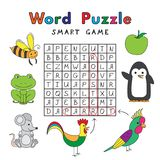 Funny Animals Word Puzzle Smart Game Royalty Free Stock Images