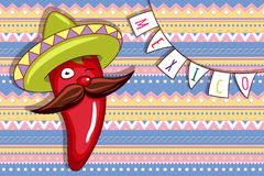 Funny animated chili pepper in bright sombrero. Royalty Free Stock Photo