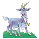 Funny animated goat with bell. On a meadow Stock Photo