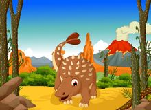 Funny Ankylosaurus Dinosaur cartoon with forest landscape background Royalty Free Stock Image