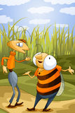 Ant and wasp character cartoon style  illustration Royalty Free Stock Photography