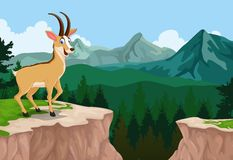 Funny antelope cartoon with forest landscape background Stock Image
