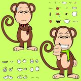 Funny ape cartoon expressions set. Monkey cartoon expressions set in vector format very easy to edit Stock Photos
