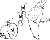 Funny apple and carrot drink juice - vector Royalty Free Stock Images