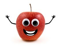 Funny apple stock images. Cheerful apple character. Red apple on white background. Laughing apple cartoon icon Royalty Free Stock Image