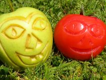 Funny apple and tomato Royalty Free Stock Photo