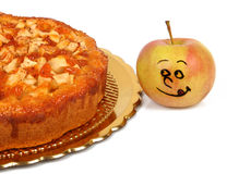 Funny apples with apple pie Stock Images