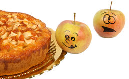 Funny apples with apple pie Royalty Free Stock Images