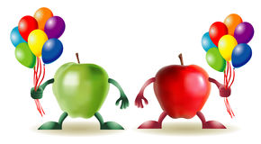 Funny apples with baloons Royalty Free Stock Images