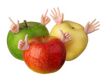 Funny apples red yellow green Royalty Free Stock Image