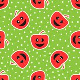 Funny apples with smiling face. Colorful seamless pattern. Red, stock illustration