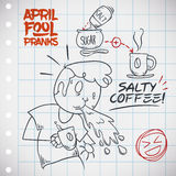 Funny April Fools' Prank of Salt Coffee, Vector Illustration. April Fools' Day prank of salt coffee planned in a squared paper with man being pranked in doodle Stock Photos
