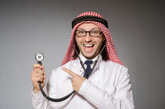 Funny arab doctor. With stethoscope Stock Image