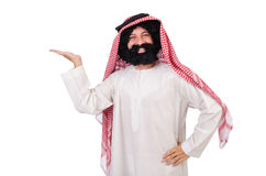 Funny arab man hoding hands Stock Images