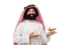 Funny arab man with lamp. Isolated on white stock photography