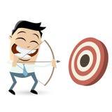 Funny archery cartoon man. Funny cartoon illustration archery man Stock Photography