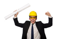 The funny architect with drawings on white Stock Images