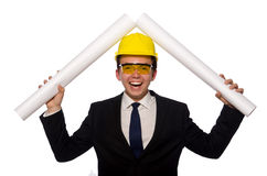 The funny architect with drawings on white Stock Photos