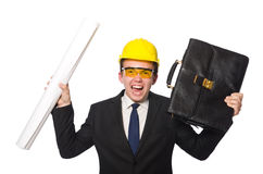 The funny architect with drawings on white Stock Photo