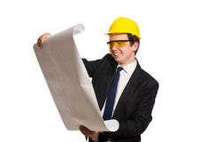 The funny architect with drawings on white Royalty Free Stock Photo