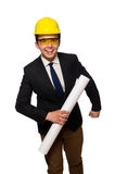 The funny architect with drawings on white Royalty Free Stock Image