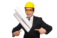 The funny architect with drawings on white Stock Photography