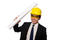 Funny architect with drawings on white Royalty Free Stock Photos