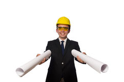 Funny architect with drawings on white Royalty Free Stock Photography