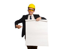Funny architect with drawings on white Royalty Free Stock Images