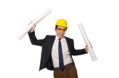 Funny architect with drawings on white Stock Photography