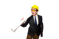 The funny architect with drawings on white Royalty Free Stock Images