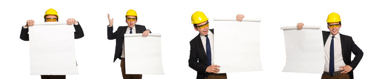 The funny architect with drawings on white Royalty Free Stock Photography