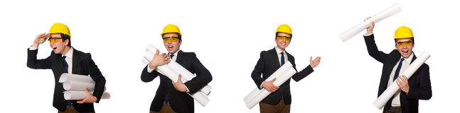 The funny architect with drawings on white Stock Image