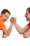 Funny arm wrestling Stock Image