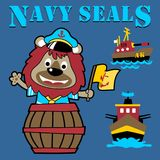 Funny army navy cartoon with gunboats. Funny lion the gunboat crew. Vector cartoon illustration, no mesh, vector on eps 10 Royalty Free Stock Images