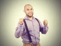 Funny arrogant bald man with a beard. Happy funny arrogant bald man with a beard Royalty Free Stock Photo