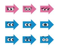 Funny arrows. Set of funny arrows with big and very expressive eyes Stock Photo