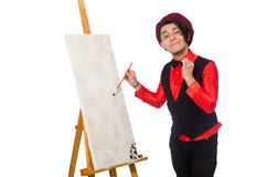 The funny artist isolated on white Royalty Free Stock Photos