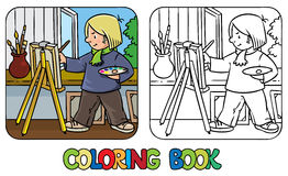 Funny artist or painter. Coloring book Royalty Free Stock Photo