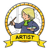 Funny artist or painter. Profession ABC series Royalty Free Stock Photo