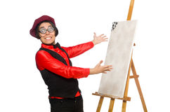 Funny artist on white Stock Photography