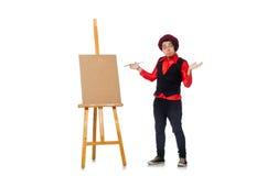 Funny artist on white Stock Photo