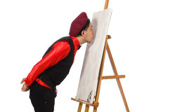Funny artist on white Royalty Free Stock Photo