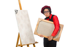 Funny artist on white Stock Image